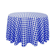 round polyester tablecloth blue white checd