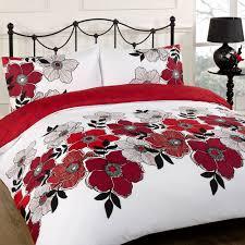 duvet quilt cover bedding set red white single