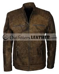 distressed brown quilted shoulders casual biker mens leather jacket