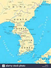 Korean peninsula political map with North and South Korea and the capitals  Pyongyang and Seoul Stock Photo - Alamy