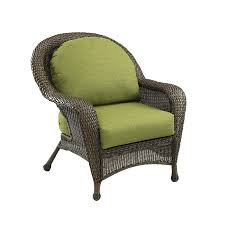 Decorating Wicker Armchair With Green Lowes Patio Cushions For
