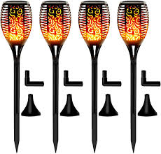 Otdair Solar Torch Lights Waterproof Flickering Flame Solar Torches Dancing Flame 96 Led Landscape Decoration Lighting Dusk To Dawn Outdoor Security
