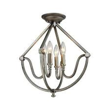 stanton 4 light weathered zinc semi flush mount with brushed nickel accents