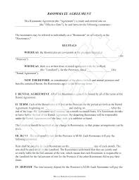 Printable Sample Roommate Agreement Template Form Contract Free ...