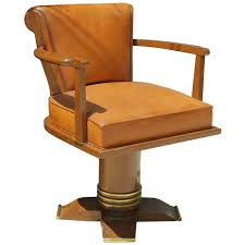 exceptional and rare oak and brass swivel desk chair 1930 for