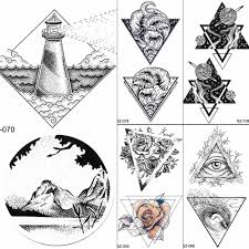 Rhombus Lighthouse Temporary Tattoos Stickers Men Small Round Valley Fake Tattoo Women Body Arm Art Waterproof Tatoos Supplies