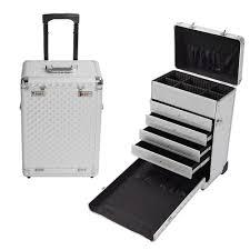 White Makeup Organizer Rolling Aluminum Makeup Case Box W Drawers Code Lock Wheeled