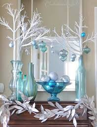 A Blue Christmas - winter entry vignette from Centsational Girl. blue and  silver Christmas decorations
