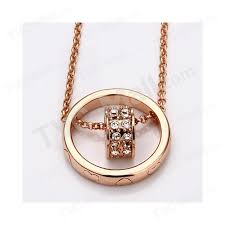 diamond heart shape round pendant charm necklace rose gold plated 4