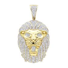 solid 10k gold lion head pendant with diamonds for men 1 2ct yellow image
