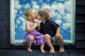 little boy little cute kiss