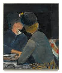 richard benkorn 1922 1993 two women at table signed with initials and dated signed titled and dated 1963 on the reverse oil on canvas 36 x 30 in