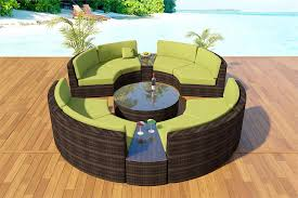 gathering round curved outdoor sectional in bronze and peridot