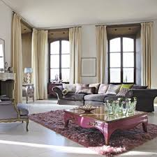 interior cream fabric curtains on the hook added by rectangle purple wooden sofa table on