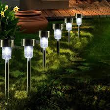 Outdoor Landscape Lighting 16pcs Led Solar Stainless Steel Lawn Lamps Garden Outdoor Landscape Path Light