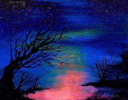 night scene painting trees at night by artist singh