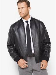 comfortable men s michael kors reversible leather and nylon jacket in black