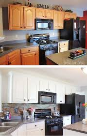 kitchen cabinets painted white before and afterCool Painted Kitchen Cabinets Before And After White Painted
