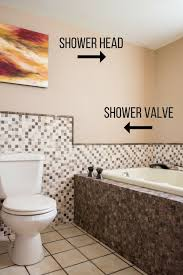 stand alone bathtub with diagram of shower placement