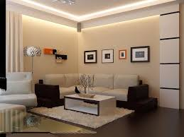 comfortable and elegant living room with beige color on the walls with beautiful white striped black