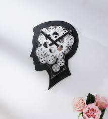 black metal human face gear wall clock