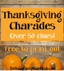 Thanksgiving Charades Game
