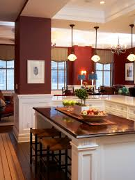 Painting For Kitchen Walls Transitional Kitchen With Dark Red Walls White Painted Wood Work