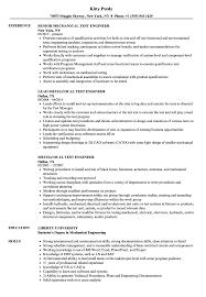Mechanical Test Engineer Resume Samples | Velvet Jobs