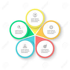 5 Element Chart Infographic Element With Petals Flat Chart Diagram Graph With