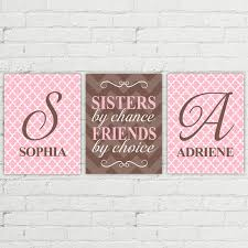 on pink and brown wall art with sisters by chance friends by choice twin girls nursery art