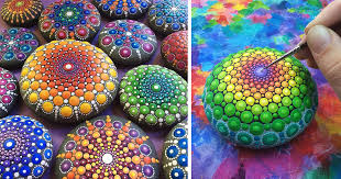 artist paints ocean stones with thousands of tiny dots to create colorful mandalas bored panda