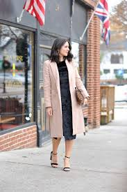 "renamed Velvet Dress  Ann Taylor Coat  Express Heels  Clare Vivier  Clutch  Vintage Earrings (similar)  Sisley Lipstick in ""Tango"""