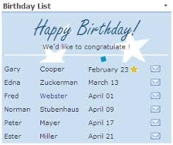 Sharepoint Birthday Anniversary Web Part