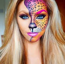cheetah makeup if you like bold colors then this idea for making cheetah makeup is fantastic don t you love how the one eyebrow is painted in color