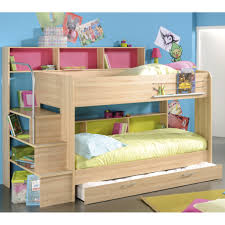 bedroom, Iddylic Fun Bunk Beds With Simple Mattress Closed Pink Book Shelf  And Sweet Wood