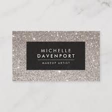 clic silver glitter makeup artist business card