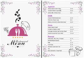 Word Restaurant Menu Templates Food Menu Templates For Microsoft Word Ms Word Restaurant Menu
