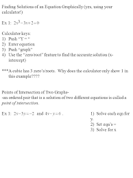 finding solutions of an equation graphically yes using your calculator ex 1