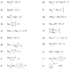 math exercises problems logarithmic equations and inequalities
