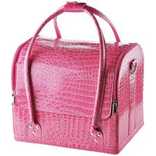 pink crocodile makeup train bag handbag case w removable tray cosmetic jewelry 0