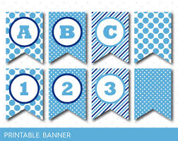 Baby Banners Template Blue Banner Party Banner Birthday Banner Baby Shower Banner
