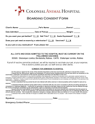 Boarding Consent Form - Colonial Animal Hospital