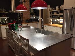 stainless steel island countertop with a sink