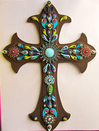 wall cross embellished jeweled brown and blue with touch of pink ooak vintage inspired religious wall decor wall art cross 95 00 via etsy  on religious wall art crosses with wall cross embellished jeweled brown and blue with touch of pink