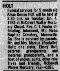 Alicia Denise Holt obituary 2 Jan 1984 - Newspapers.com