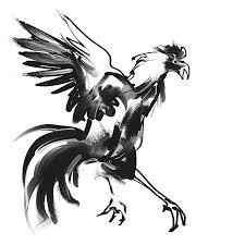 水墨画のようなモノクロの鳥イラストの仕事依頼料金 イラスト制作