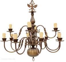 flemish 12 lamp brass bronze chandelier 2 tier antique