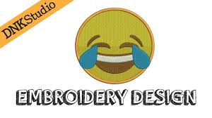 Emoji Embroidery Designs Face With Tears Of Joy Emoji Emoticon Embroidery Design