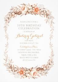 Floral Adult 70th Birthday Invitations Elegant Fall