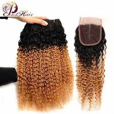 Pinshair <b>1B</b>/<b>30</b> Human Hair Bundles with Closure <b>Ombre</b> Blonde ...